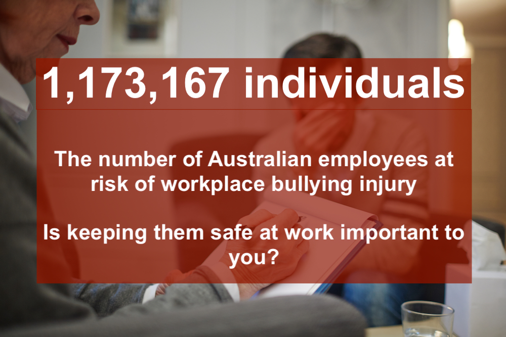 How many Australians are at risk of workplace bullying?