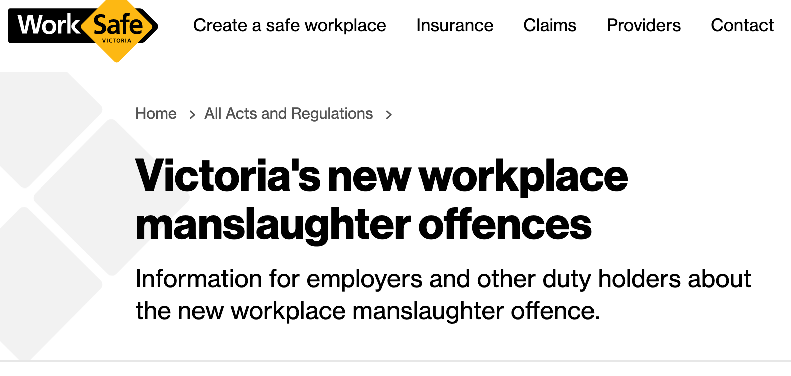 Workplace Manslaughter Laws Effective 1 July 2020