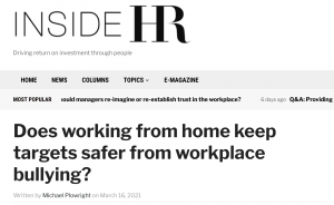 Does working from home keep targets safer from workplace bullying