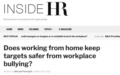 Does working from home keep targets safer from workplace bullying?